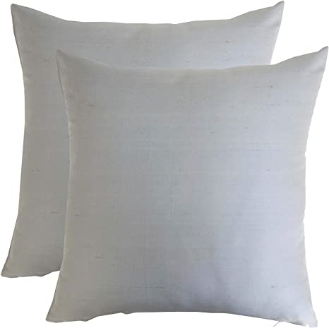 silk throw pillow cover grey 15x15 inch pack of 2 100 pure silk dupioni cushion cover no insert included