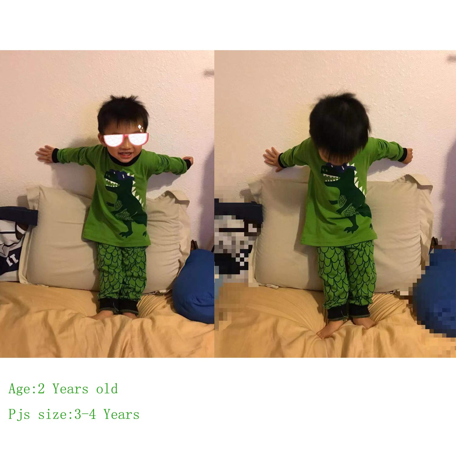 Tarkis Boys Pyjamas Set Cartoon Dinosaur Nightwear Sleepwear Long Sleeve Pjs Outfit Ages 2 to 7 Years