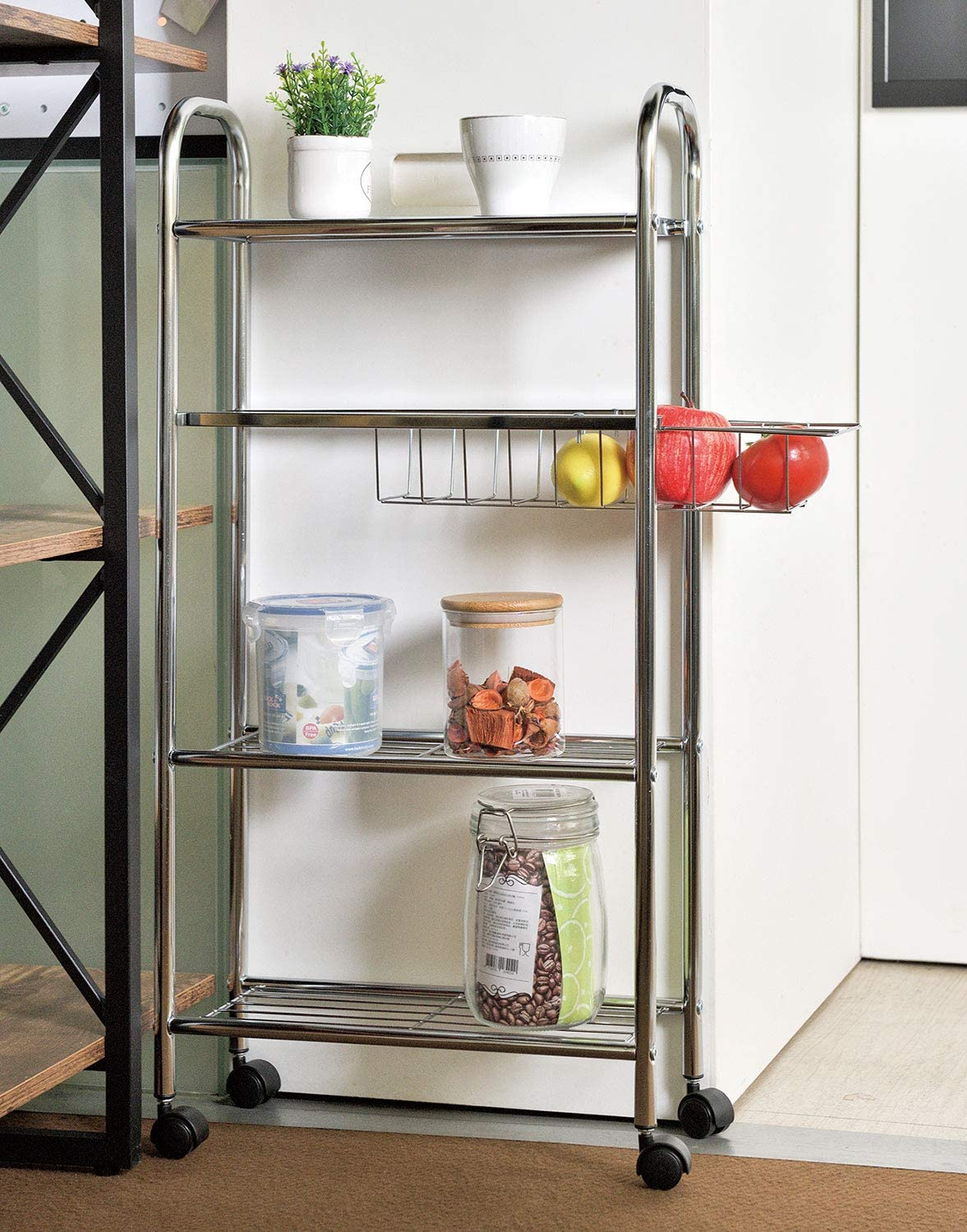 4 Tier Slim Storage Cart Narrow Shelf Slide Out Storage Tower Rack Mobile Shelving Organizer Rolling Utility Cart Perfect For Home Office Kitchen Laundry Room Office Products