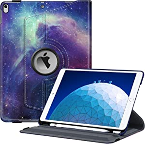 """Fintie Rotating Case for iPad Air (3rd Gen) 10.5"""" 2019 / iPad Pro 10.5"""" 2017 - 360 Degree Rotating Stand Protective Cover with Built-in Pencil Holder, Auto Sleep/Wake (Galaxy)"""