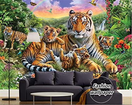 Mznm Custom Fashion Wallpaper Tropical Rain Forest Animal Tiger Plant Waterfall Butterfly Papel De Parede