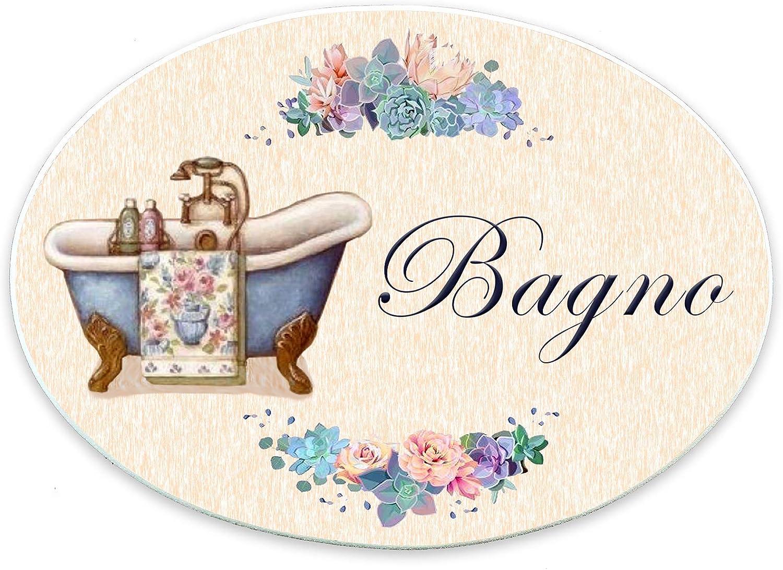 Domus Artis Targhe per Porta Shabby Chic Cucina Bagno cameretta Ovale 20x15 Bagno 102