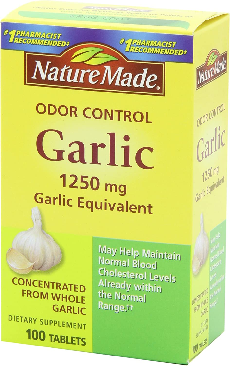 Nature Made Odor Control Garlic, 1250mg, 100 Tabs: Health & Personal Care