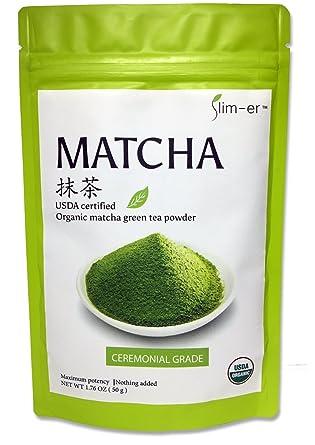 Slim-er Matcha Green Tea Powder - Certified Organic,Ceremonial Grade, No  Sugar, No Food Coloring, No flavor. 50grams