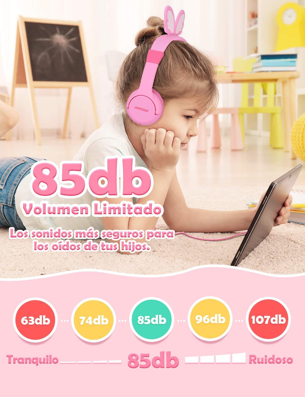 Auriculares Niños, Mpow Cascos Infantil Música para Niños con Volumen Limitado de 85dB, Materiales Seguros de Grado Alimentario, 3.5mm Jack, ...