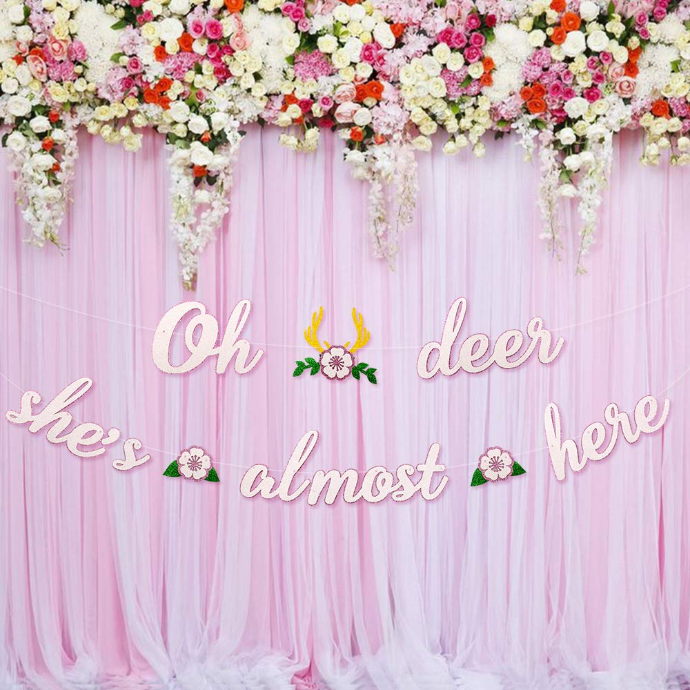 Deer Baby Shower Banner Oh Deer She's Almost Here Banner with Deer Antler and Flowers Boho Floral Themed Party Decor Woodland Animal Baby Shower Pink and White Decoration Homemade by Faisichocalato (Image #6)