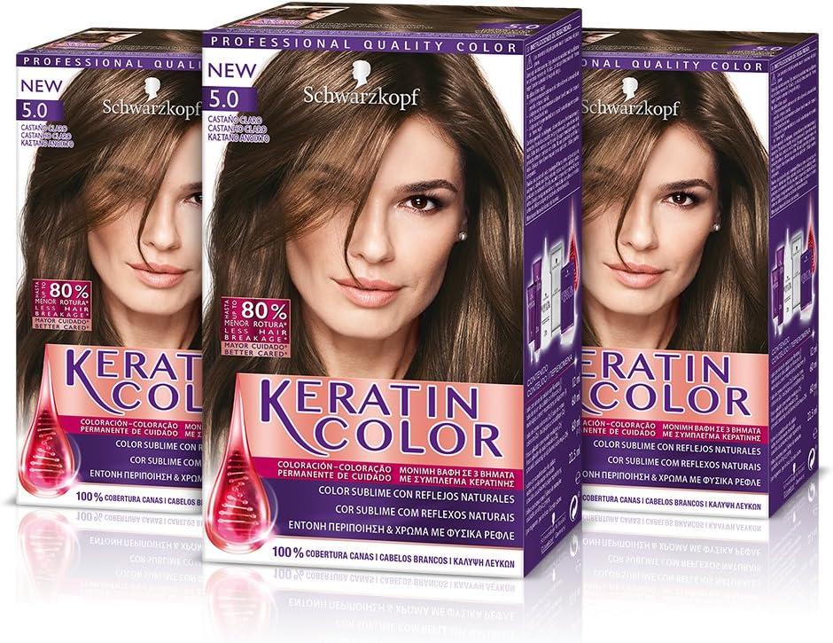 Keratin Color Cream Coloración del Cabello 5.0 Castaño Claro - 3 Unidades