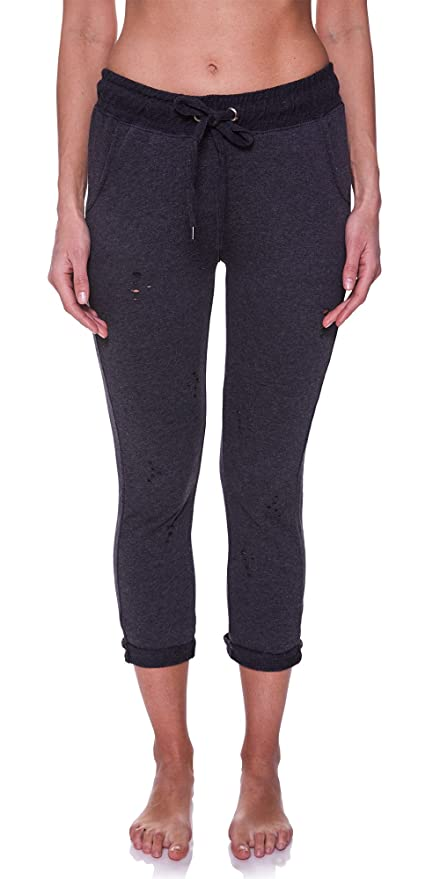 4796a81463199 N.Y.L. Women's Distressed Workout Pockets Drawstring Yoga Jogger Sweatpants  at Amazon Women's Clothing store: