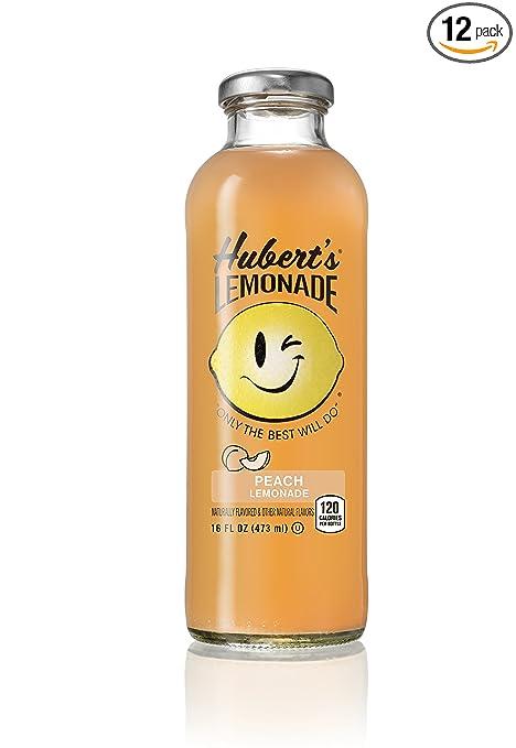 Hubert's Lemonade, Peach, 16 Ounce (Pack of 12)