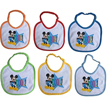 BAVETTE 6 Piezas Mickey Mickey Mouse Disney Babero 18x18 CM EN ...
