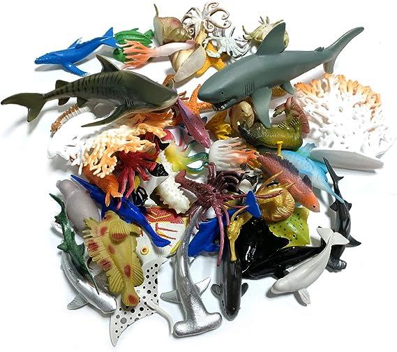 DOITEM 54 Pack Assorted Mini Vinyl Plastic Ocean Sea Animal Figures Toy Set Realistic Under The Sea Life Figure Bath Gift for Child Educational Kids Party