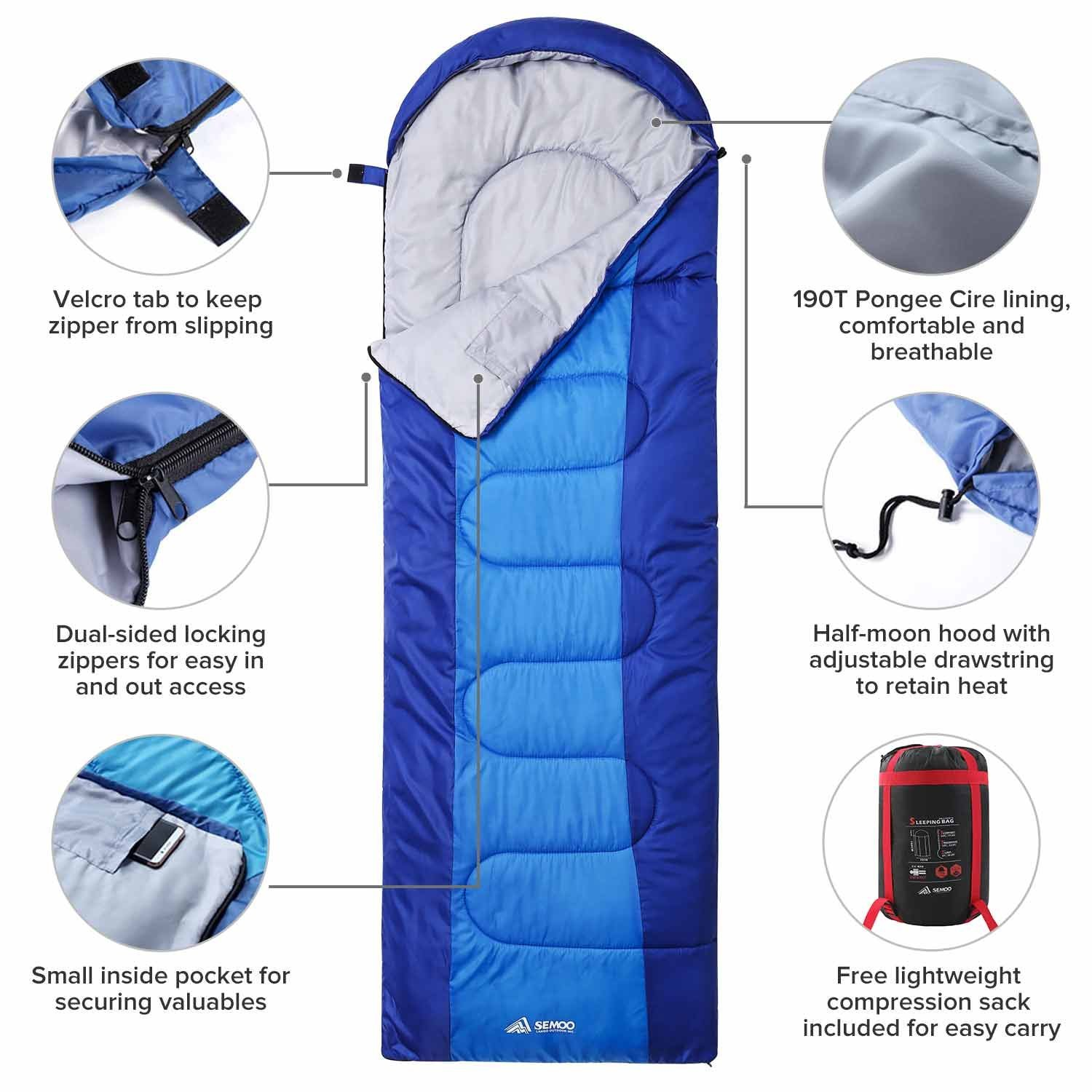Lightweight Portable Waterproof Hiking Great for 3-4 Season Traveling Camping SEMOO Backpacking Sleeping Bag Comfort with Compression Sack