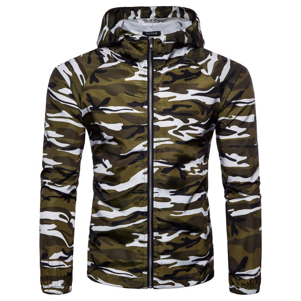 FRAUIT Camouflage Zipper Herren Mit Kapuze Pullover Sweatshirt Herbst Winter Warm Bequem Weich Sport Freizeit Sweatjacke Kapuzenjacke