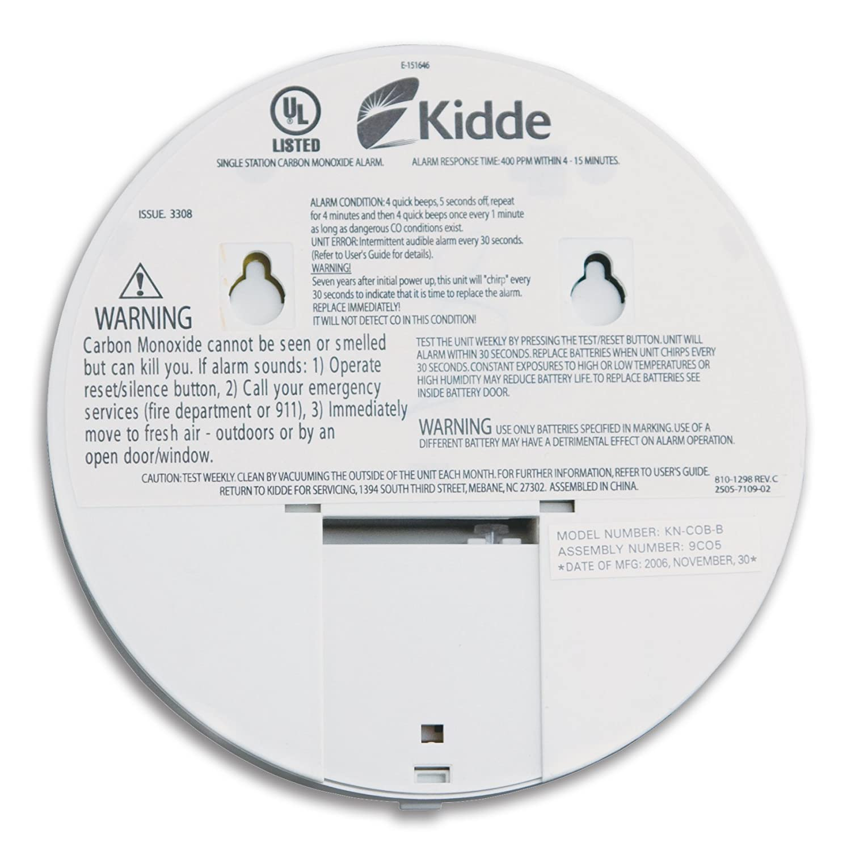 Kidde KN-COB-B Battery-Operated Basic Carbon Monoxide Alarm with ...