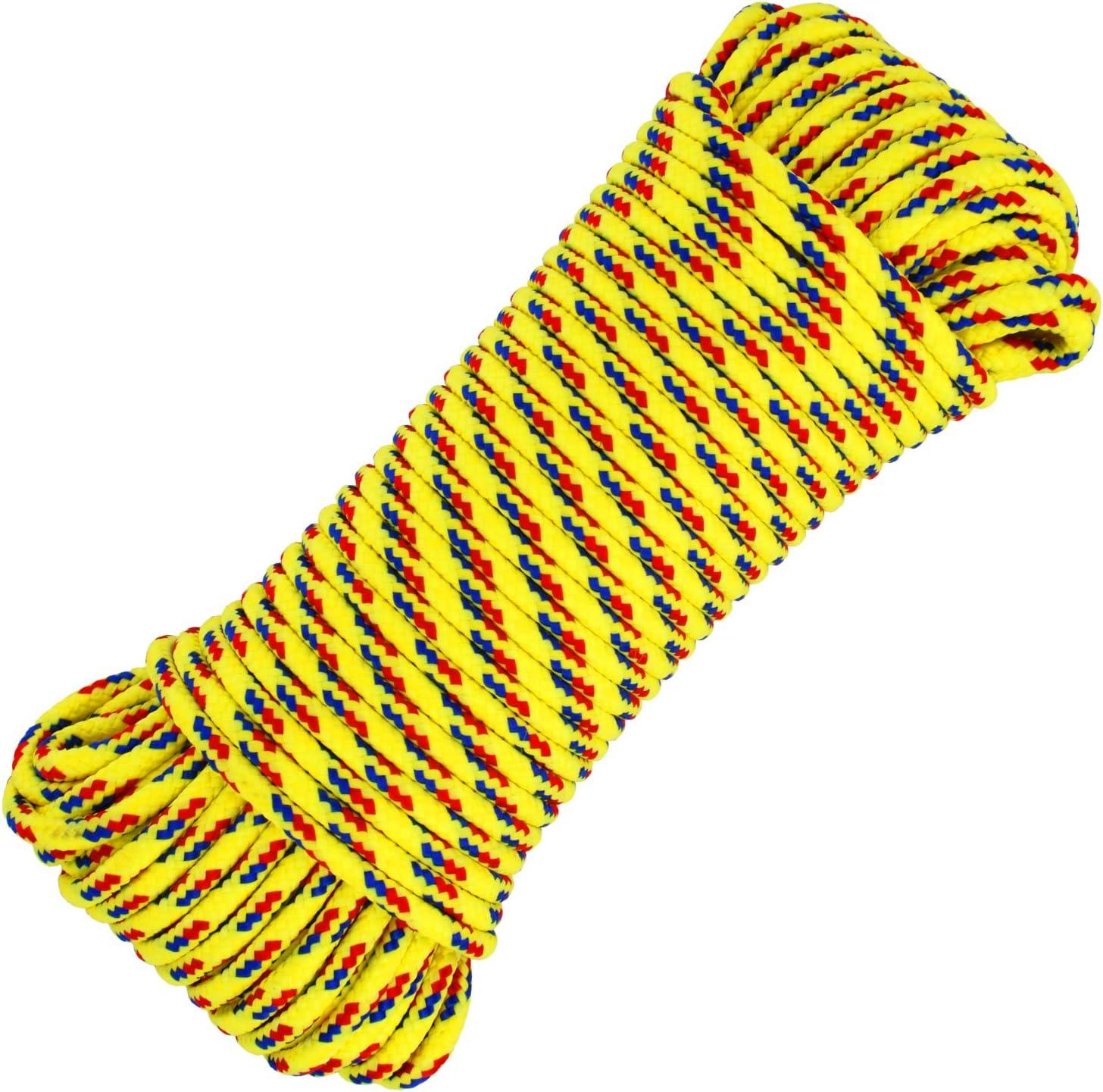 stendibiancheria com-four/® 1x Fune Multiuso da 30m 30 Metri - Giallo Cavo di Fissaggio Versatile Corda in Polipropilene Linea Intrecciata per Regali Fai-da-Te