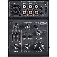 Mesa de Mezcla Consola de Mezclador 5 Canales Mini Mic-Line con USB Interfaz de Audio Efecto de Eco Incorporado USB Alimentado para Grabar DJ Network Live Broadcast Karaoke