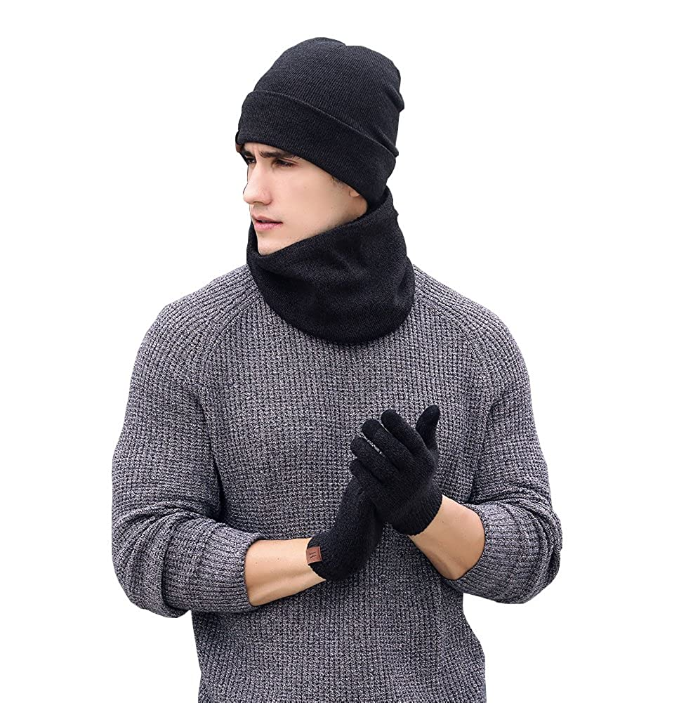 Stuffnew Winter Unisex Hat Scarf Touch Screen Gloves 3 Pieces Knitted Set for Adult