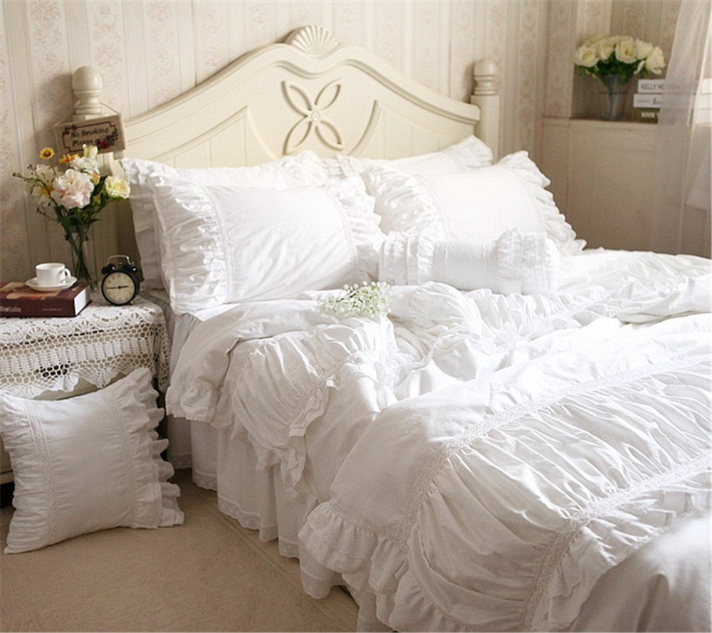 Lotus Karen 100%Cotton Solid White Lace Ruffles Korean Bedding Sets Romantic 4PC Duvet Cover Set Wedding Bed,1Duvet Cover,1Bedskirt,2Pillowcases King Queen Full Twin Size