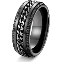 FIBO STEEL Stainless Steel 8mm Rings for Men Chain Rings Biker Grooved Edge, Size 7-14…