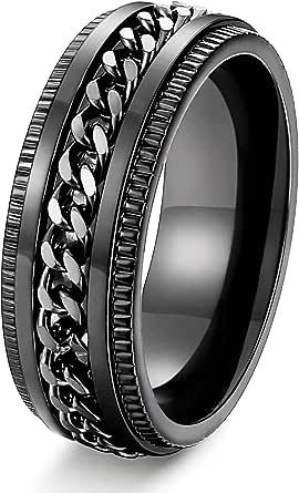 FIBO STEEL Stainless Steel 8mm Rings for Men Chain Rings Biker Grooved Edge, Size 7-14…