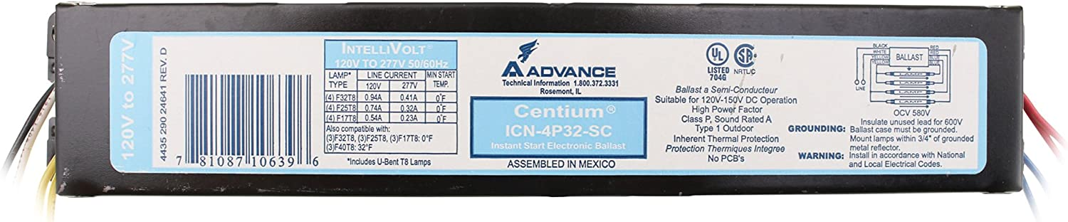 Advance ICN-4P32-SC Electronic Fluorescent Ballast, 4 Lamp, 32W T8, 120/277V