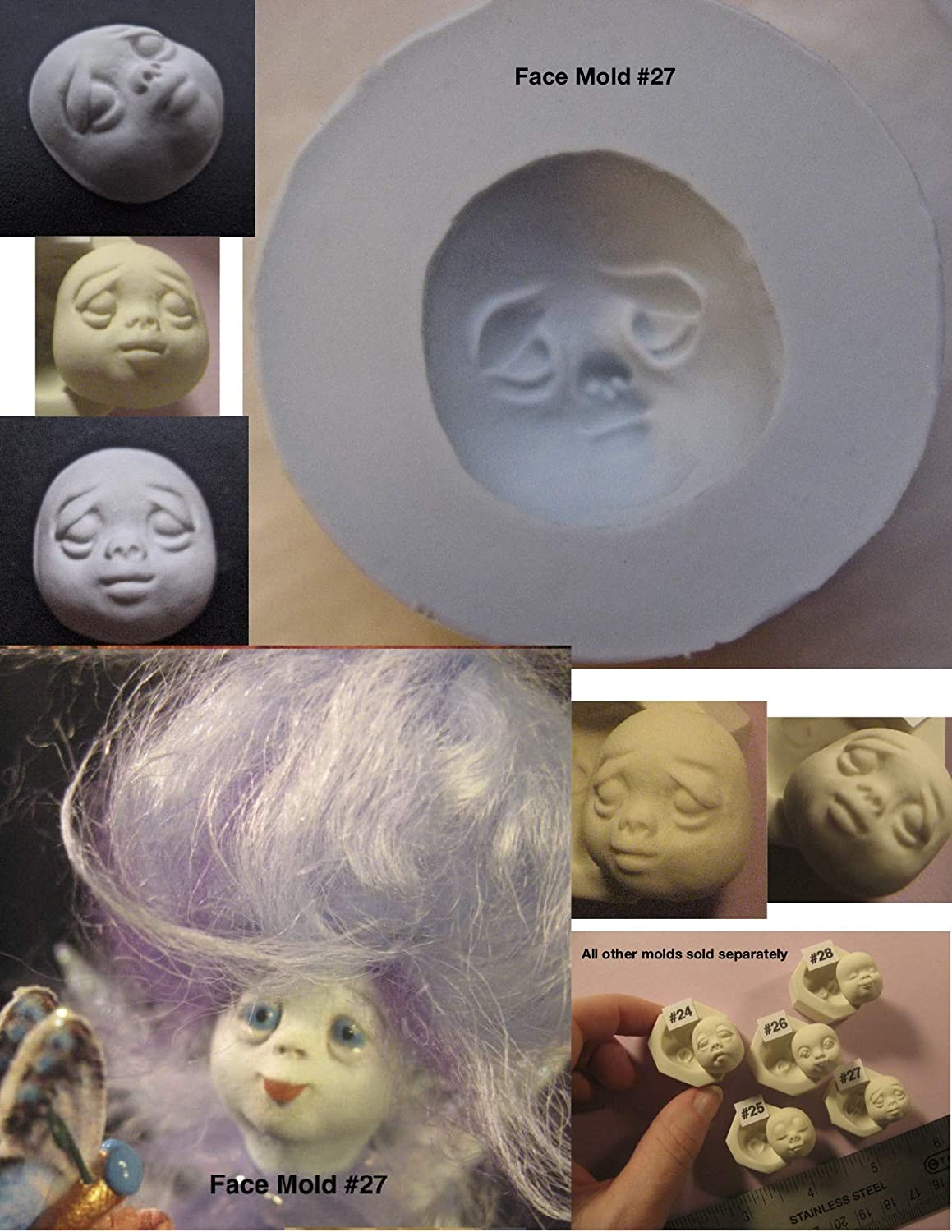 #0027 -Flexible Food Grade Silicone Press Mold of a Doll Face Cab (Baby, Child)