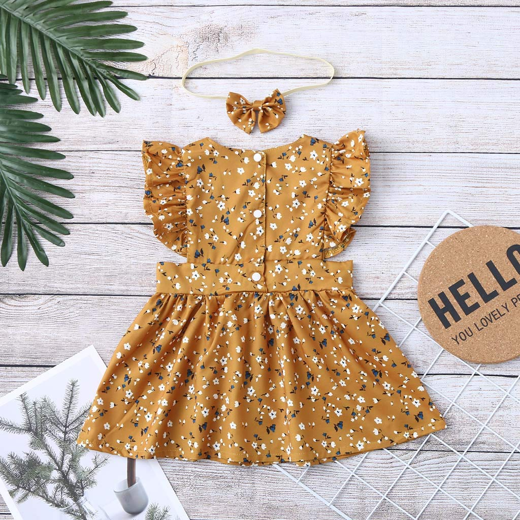 Baby Girls Dress Ruffles Floral Little Princess Dress for Toddler Kids Newborn Baby Girl Sleeveless Skirt Outfits