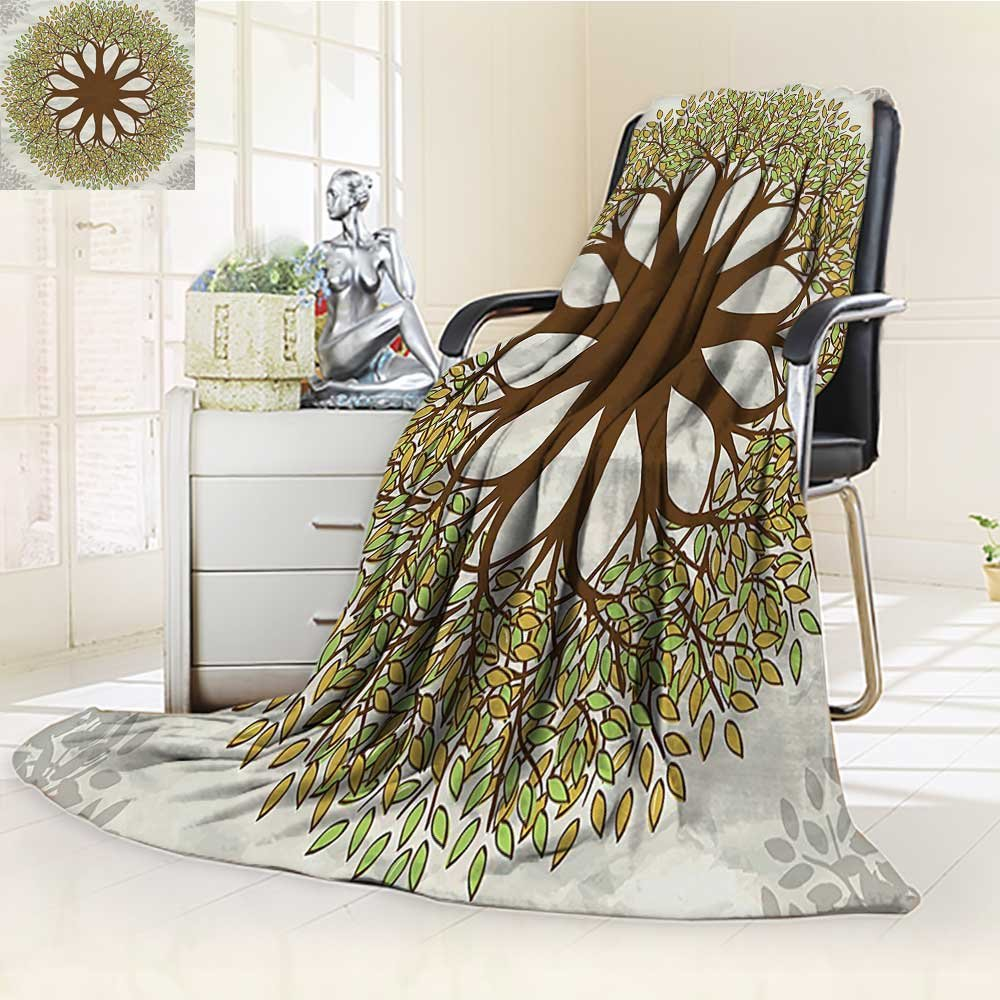 AmaPark Digital Printing Blanket Design with Leaves and Woods Round Shape Cultural Green Brown Summer Quilt Comforter by AmaPark (Image #1)
