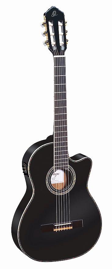 Ortega RCE145BK - Guitarra acústica (abeto macizo y caoba, tamaño 4/4)