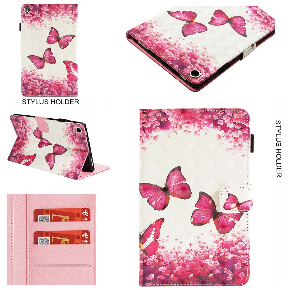 JCTek Kindle Fire HD 8 2017 Tablet Case, Ultra Slim lightweight Smart Case with Stand and Leather Wallet Case Auto Wake/Sleep Smart Case (35 Tower)