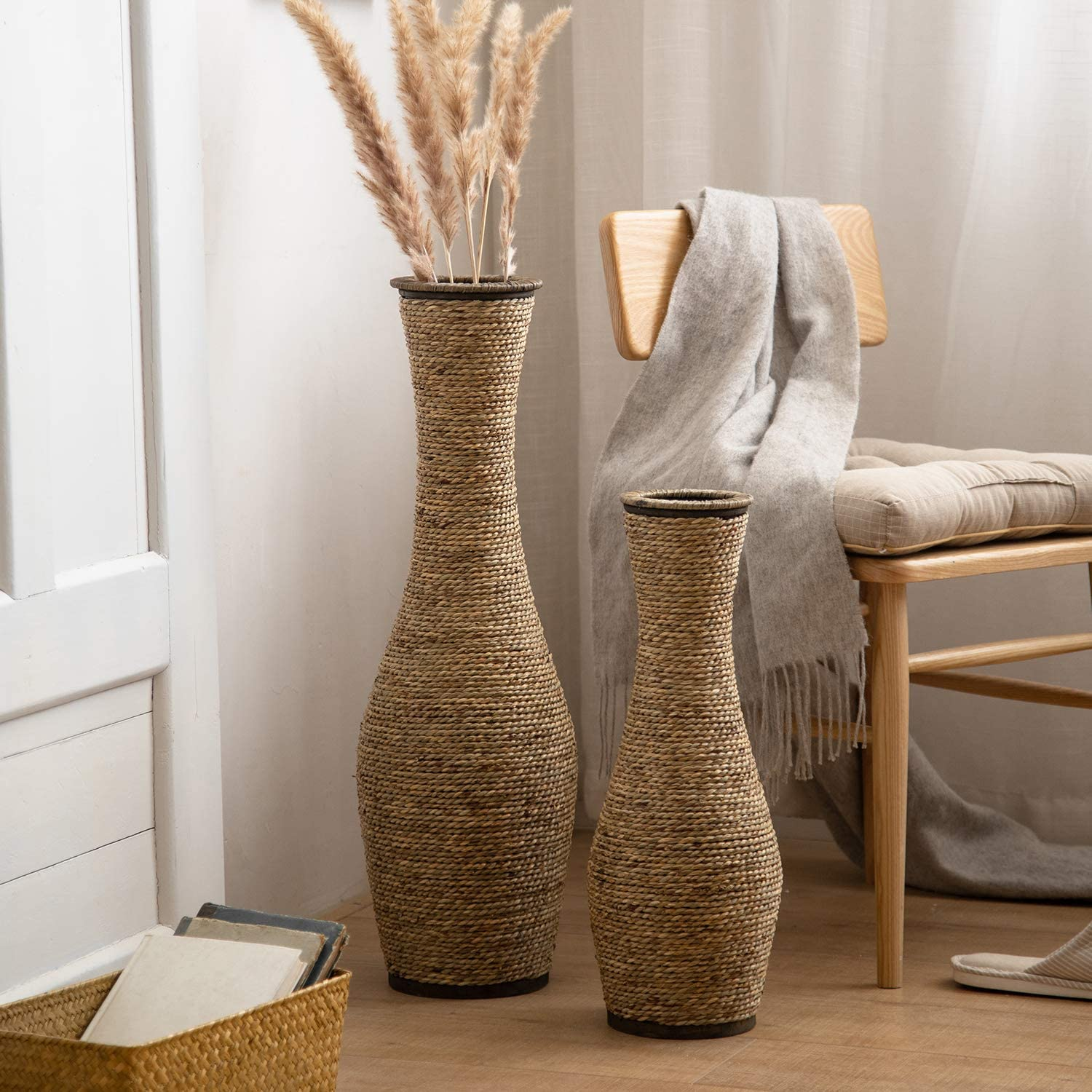 Amazon Com Huidao Tall Floor Vase 28 High Bamboo And Grass Standing Vase Floor Vase For Home Office Living Room Decor Style 2 Large Home Kitchen