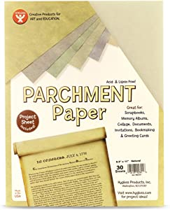 Hygloss Products Craft Parchment Paper Sheets - Printer Friendly, Made in USA - 8-1/2 x 11 Inches, Natural, 30 Pack