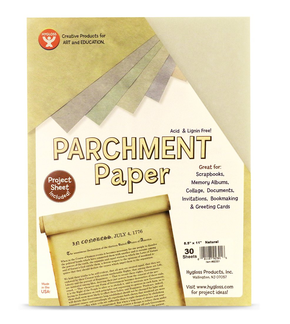 Gray Printer Friendly Hygloss Products Craft Parchment Paper Sheets Made in USA 30 Pack 8-1//2 x 11 Inches