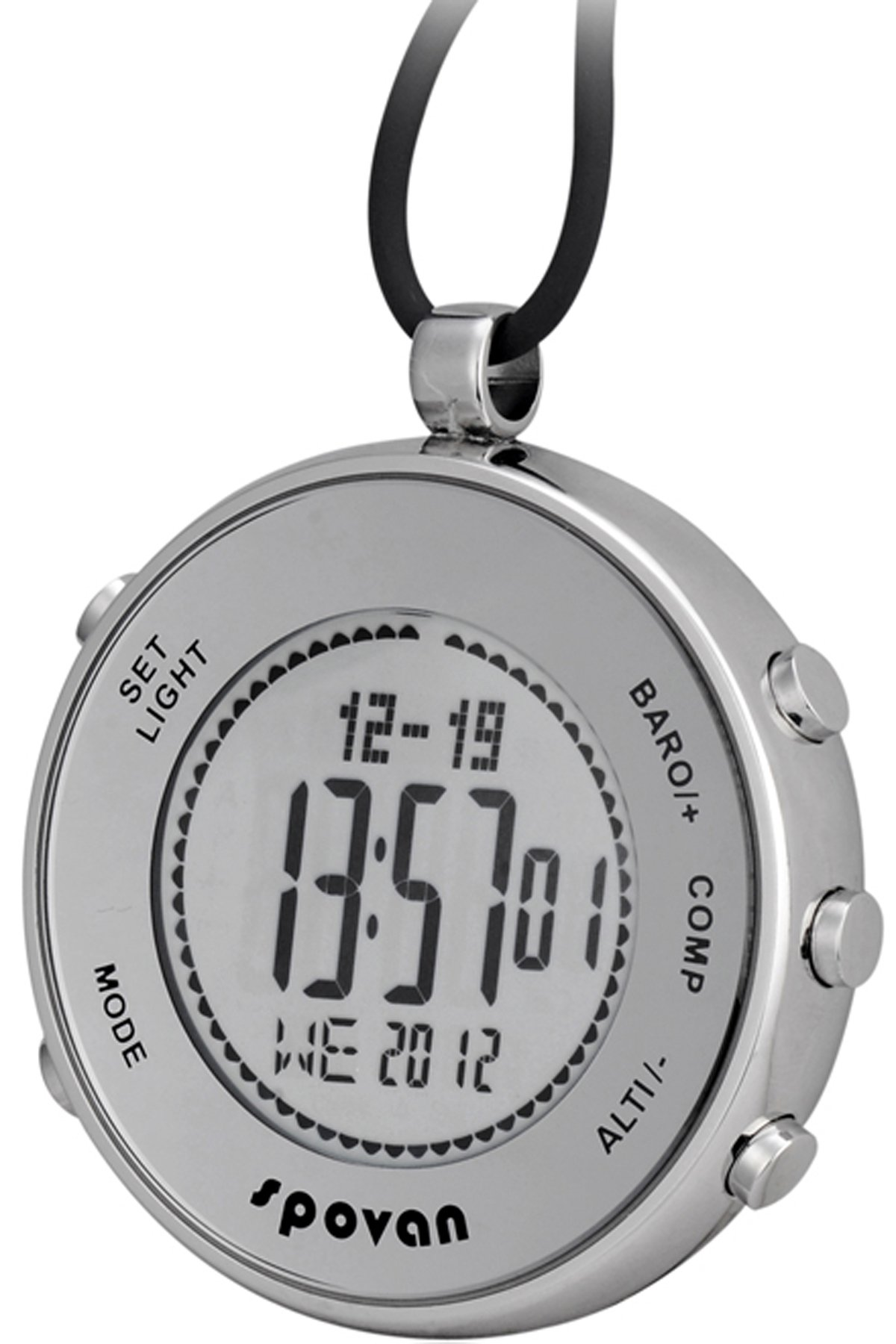 Spovan Silver Digital Pocket Watches Hiking Altimeter Barometer Compass by findtime