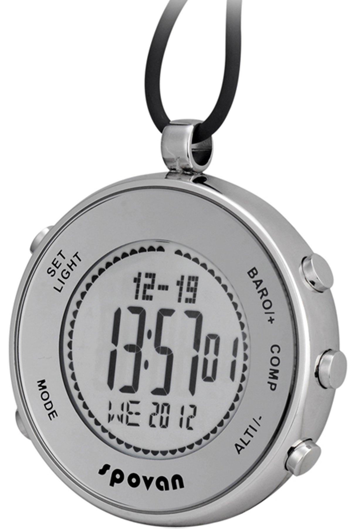 | Spovan Silver Digital Pocket Watches Hiking Altimeter Barometer Compass