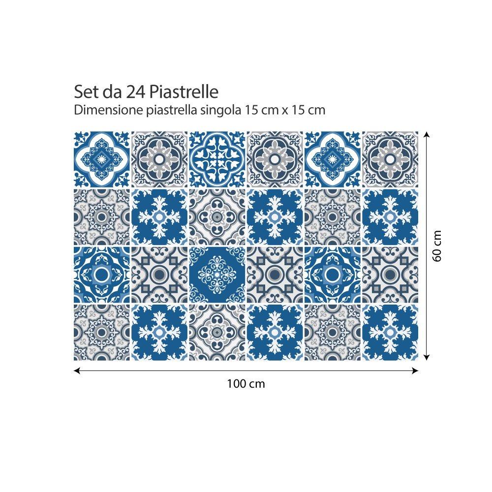 Adesivi per Piastrelle Formato 10x10 cm Confezione 36 Pezzi Made in Italy PS00021 Adalia Adesivi in PVC per Piastrelle per Bagno e Cucina Stickers Design