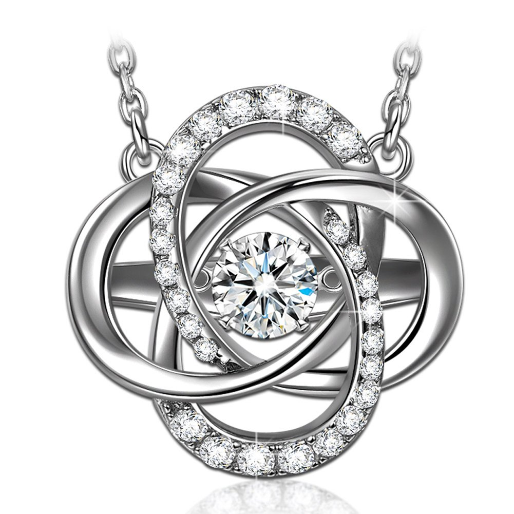 Birthday Necklaces for Women Fine Jewelry S925 Sterling Silver Necklaces Dancing Stone Jewelry for Women Jewelry Birthday Gifts for Her Cubic Zirconia Necklaces for Girlfriend Gifts for Mom White Gold