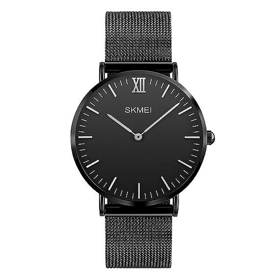 Relojes de pulsera de cuarzo para hombre de la moda Estilo minimalista Ultra fino con banda de malla milanesa Moderno reloj de pulsera de lujo clásico ...
