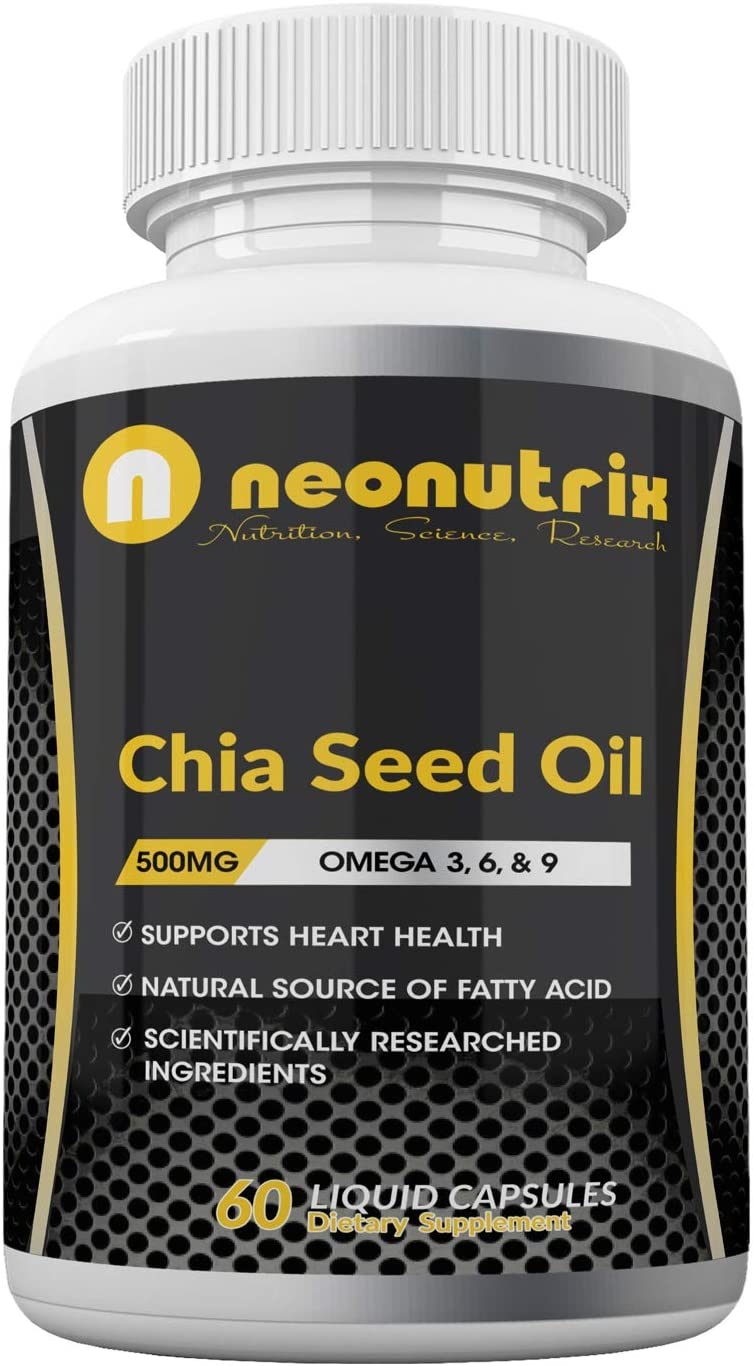 Chia Seed Oil Capsules Providing Omega 3, 6, 9 & Fatty Acids – Supports Immune & Hair Health - Natural Chia Seeds for Men and Women- 60 Liquid Capsules 500mg per Serving by Neonutrix