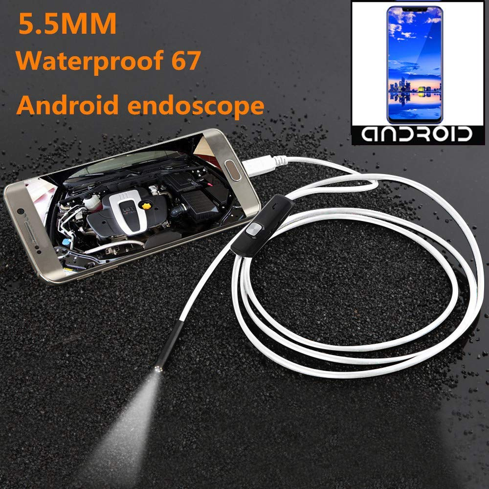 Ogquaton Endoscopio Borescope Snake Camera 6 LED Lentes Endoscopio Inspecci/ón Impermeable Borescope USB Wire Snake Tube Camera Fit Tel/éfonos Inteligentes Android 2M Durable y pr/áctico