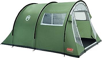 Coleman Coastline 4 Deluxe Tienda de campaña de túnes de 4 plazas para camping o festivales, acampada, familiar, impermeable hasta 3000 mm de columna de agua, Verde, 4 personas: Amazon.es: Deportes y aire libre