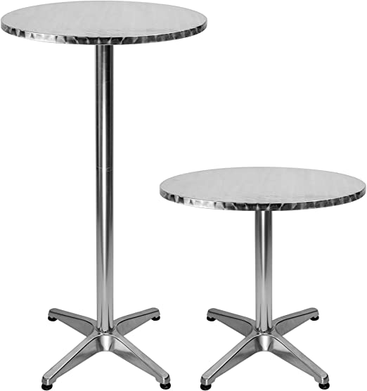 Mesa redonda de bar de aluminio con 2 alturas ajustables, 60 cm de ...