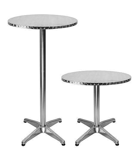 Tavolo Bar Alto.Lxdur Tavolo Alto Da Bar Tondo In Alluminio 2 Altezze Regolabili Diametro 60 Cm