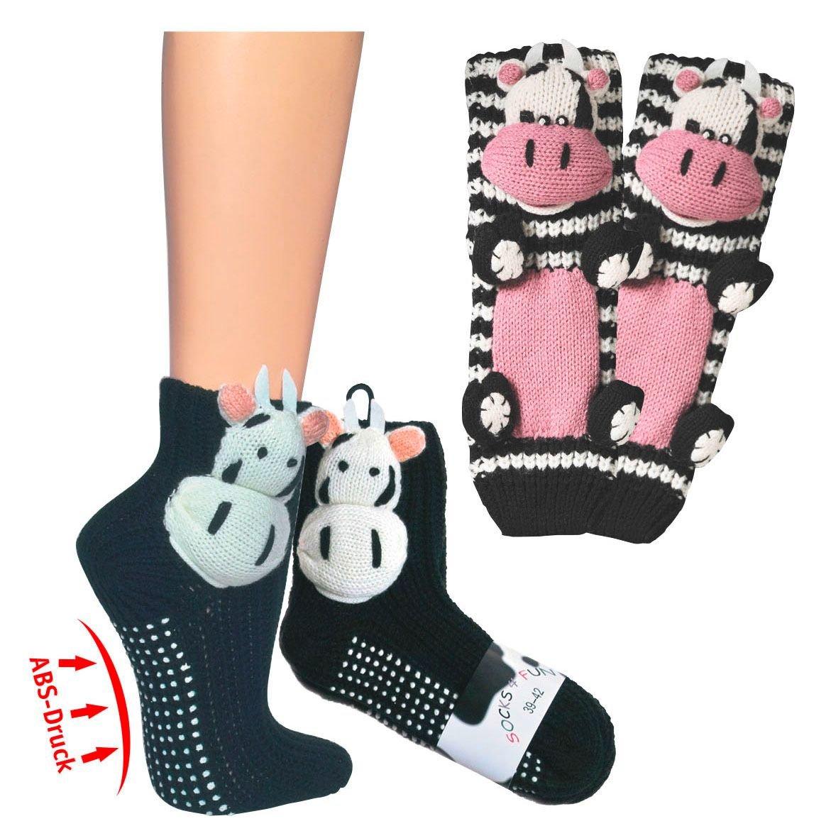 Homesocks Unisex Slipper Socks–Cows Cow–56363Size 8–42 Fan-O-Menal