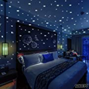 BOLLEPO Glow in The Dark Star and Dots 332 3D Wall Stickers for Kids Bedroom and Room Ceiling Gift Beautiful Glowing Wall Decals + Stars Constellations Guide