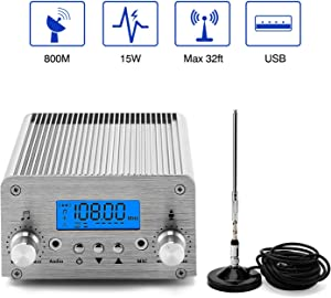 FM Broadcast Transmitter, Elikliv 15W LCD PLL Wireless Radio Stereo Broadcast Range 87~108MHz FM Transmitter for Church,Car Theater,Radio Station,Supermarket