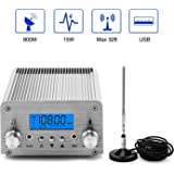 FM Broadcast Transmitter, Elikliv 15W LCD PLL Wireless Radio Stereo Broadcast Range 87~108MHz FM Transmitter for Church,Car T