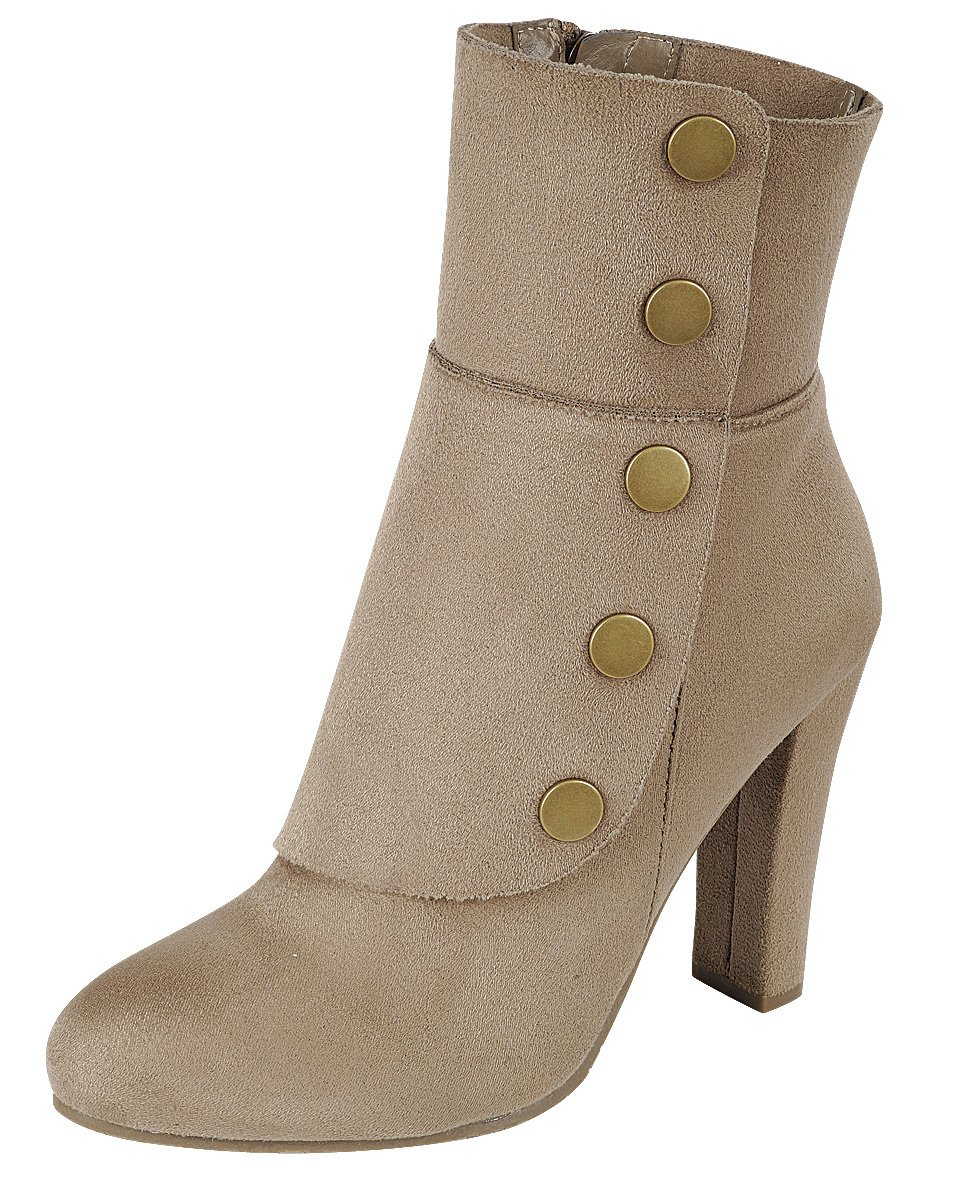 Cambridge Select Women's Victorian Steampunk Side Button Chunky Heel Ankle Boot (8.5 B(M) US, Taupe) by Cambridge Select