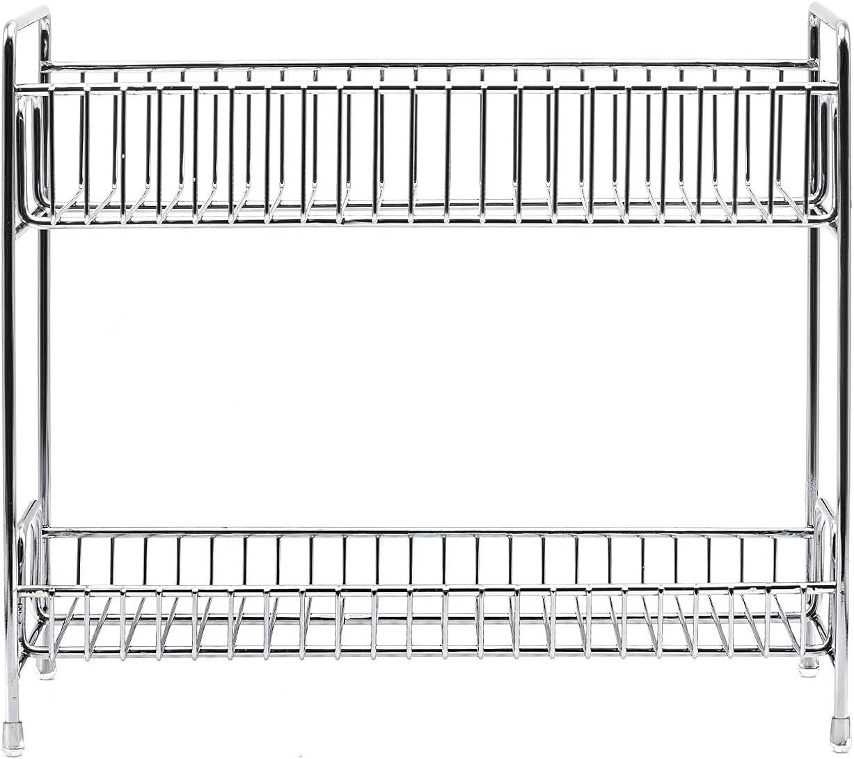 OROPY Estante para Especias de 2 Niveles con Soporte para Rollos de Cocina Tablero de Madera de Abeto y Tubo de Hierro Negro Mate 41.5x15x33.5 cm Estante de Cocina en la encimera Blanco r/ústico