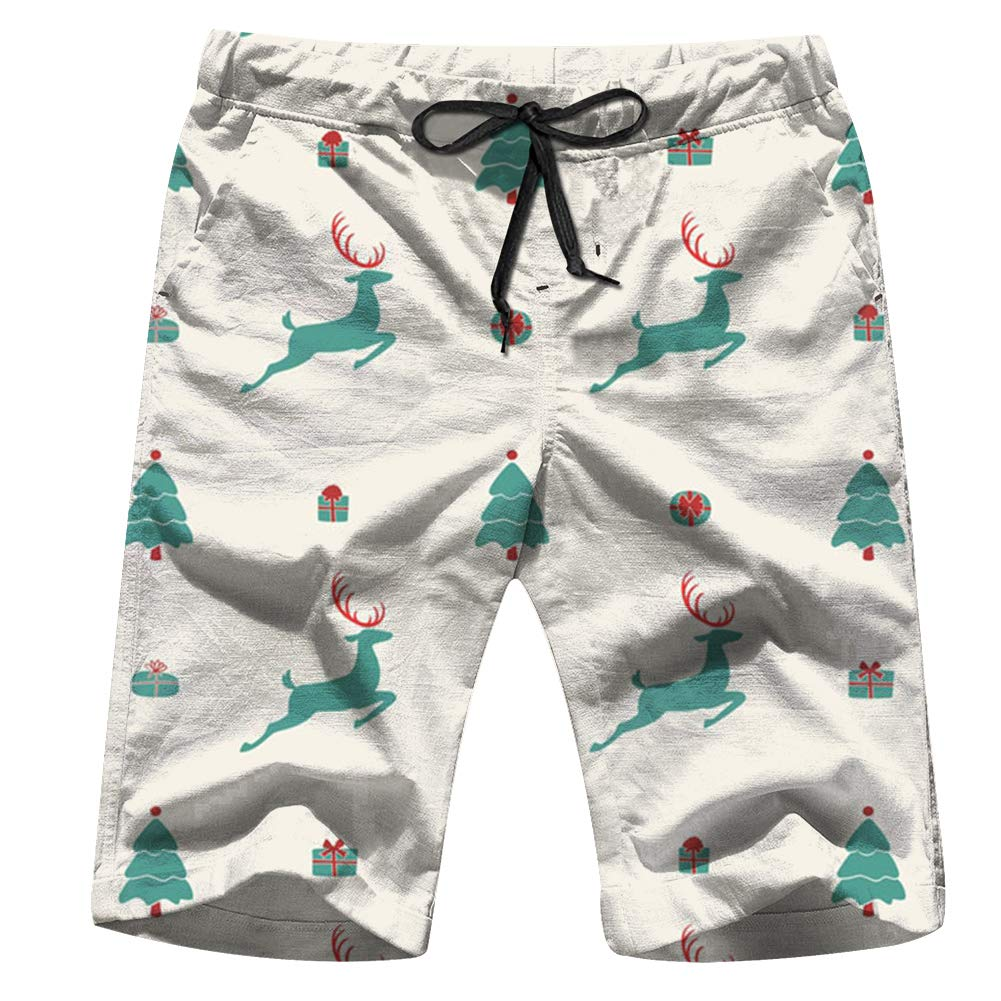Christmas Design Merry Holidays Vintage Men Board Shorts Casual Printed Trunks Work Casual Shorts